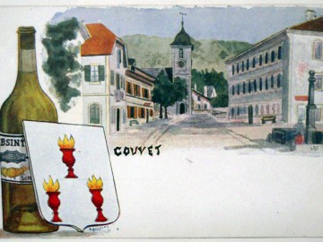 Pierre Ordinaire, Suzanne-Marguerite Henriod et Henri-Louis Pernod dans l'enclos alchimique de l'Hôtel de L'Aigle noire